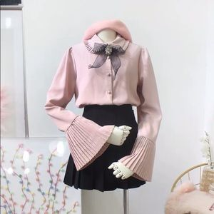 Pastel Pink Ruffle Pleated Blouse Shirt With Bow